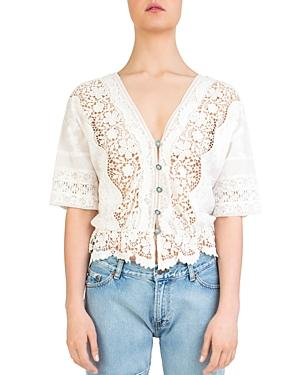 The Kooples Sheer Lace-Inset Cotton Top In Ecru
