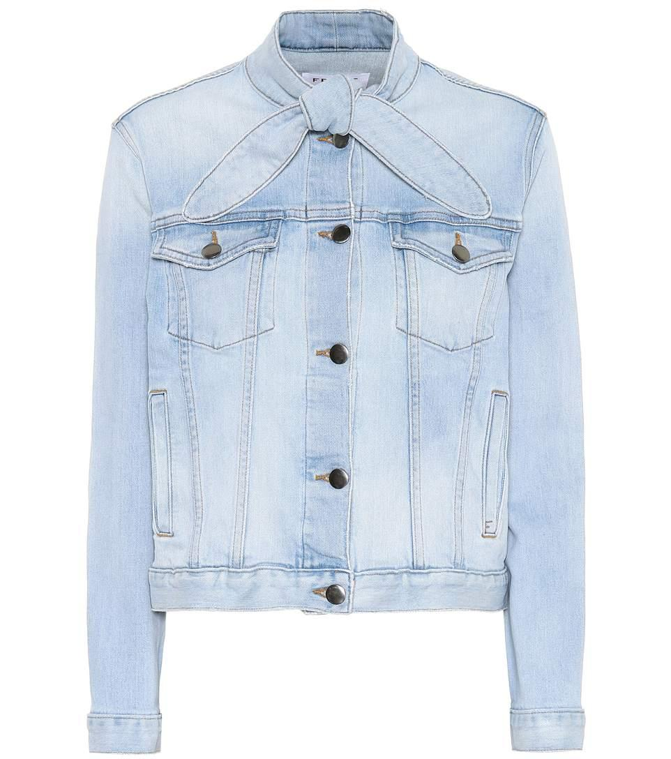 Frame Le Tie Neck Denim Jacket In Blue