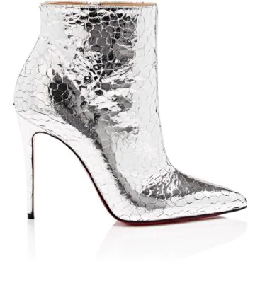 low cost 10fd4 ad1b9 So Kate Metallic Leather Red Sole Booties in Silver