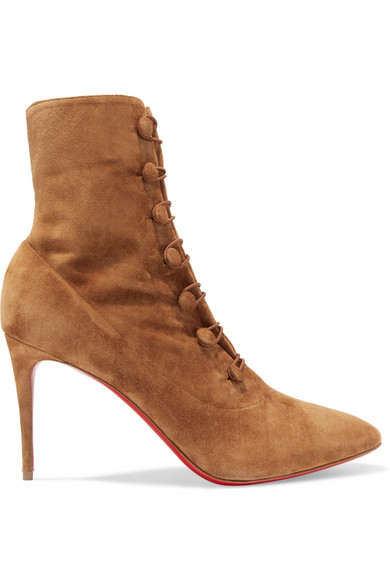 online retailer cab8b b9751 French Tutu Button-Loop Suede Red Sole Booties, Espresso in Tan