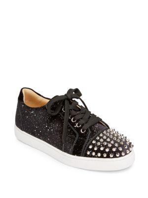 a7d21c3272e8 Christian Louboutin Vieira Spikes Velvet Sneakers In Black