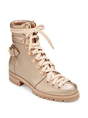 14570657904 Who Runs Gold Leather Boots in Champagne