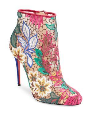 0f4cb4ed3fe7 Christian Louboutin Miss Tennis Embroidered Red Sole Booties In Pink ...