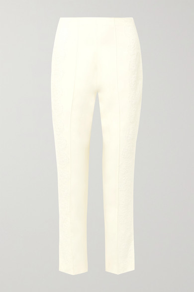 Danielle Frankel Chantilly Lace-trimmed Silk And Wool-blend Tapered Pants In Ivory