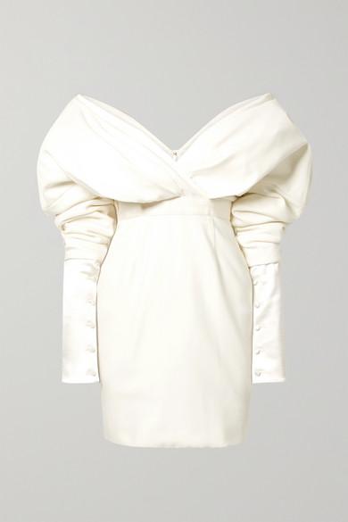 Danielle Frankel Off-the-shoulder Silk And Wool-blend Mini Dress In Cream
