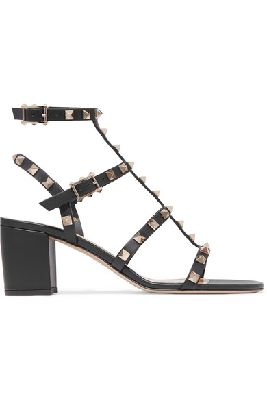 Valentino Rockstud Ankle Strap Sandal With Tonal Studs 60 Mm In Black