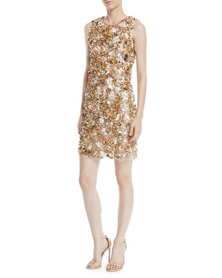 Jenny Packham Sleeveless Paillette-Embroidered Mini Cocktail Dress In Gold