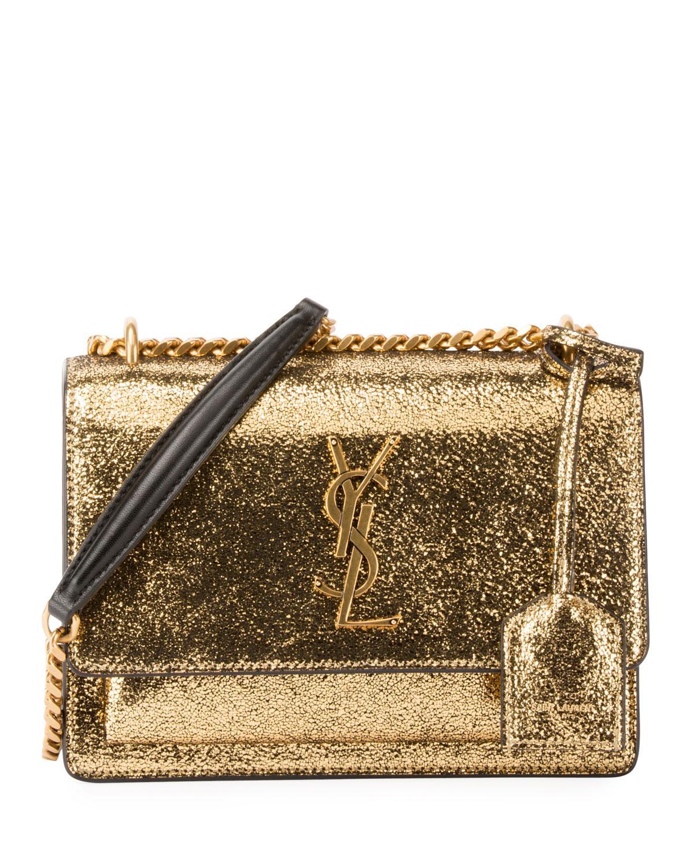 42e8ae74fa6 Saint Laurent Sunset Monogram Ysl Small Metallic Leather Chain Crossbody Bag  In Gold