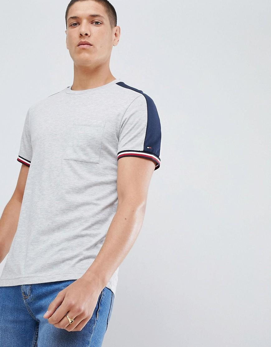 a8398862ecf Tommy Hilfiger Sports Capsule Icon Striped Cuff T-Shirt & Sleeve Tape In  Gray Marl