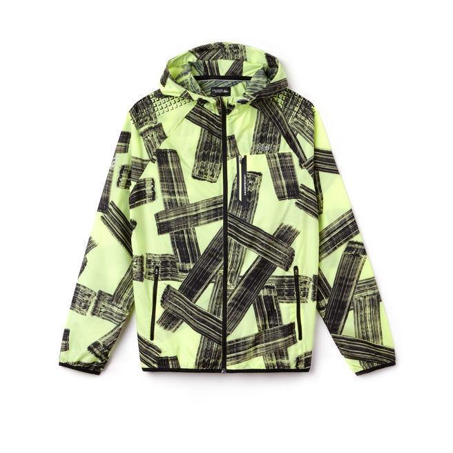 371f4fc70 Lacoste Men s Sport Hooded Print Tennis Jacket In Flashy Yellow   Black