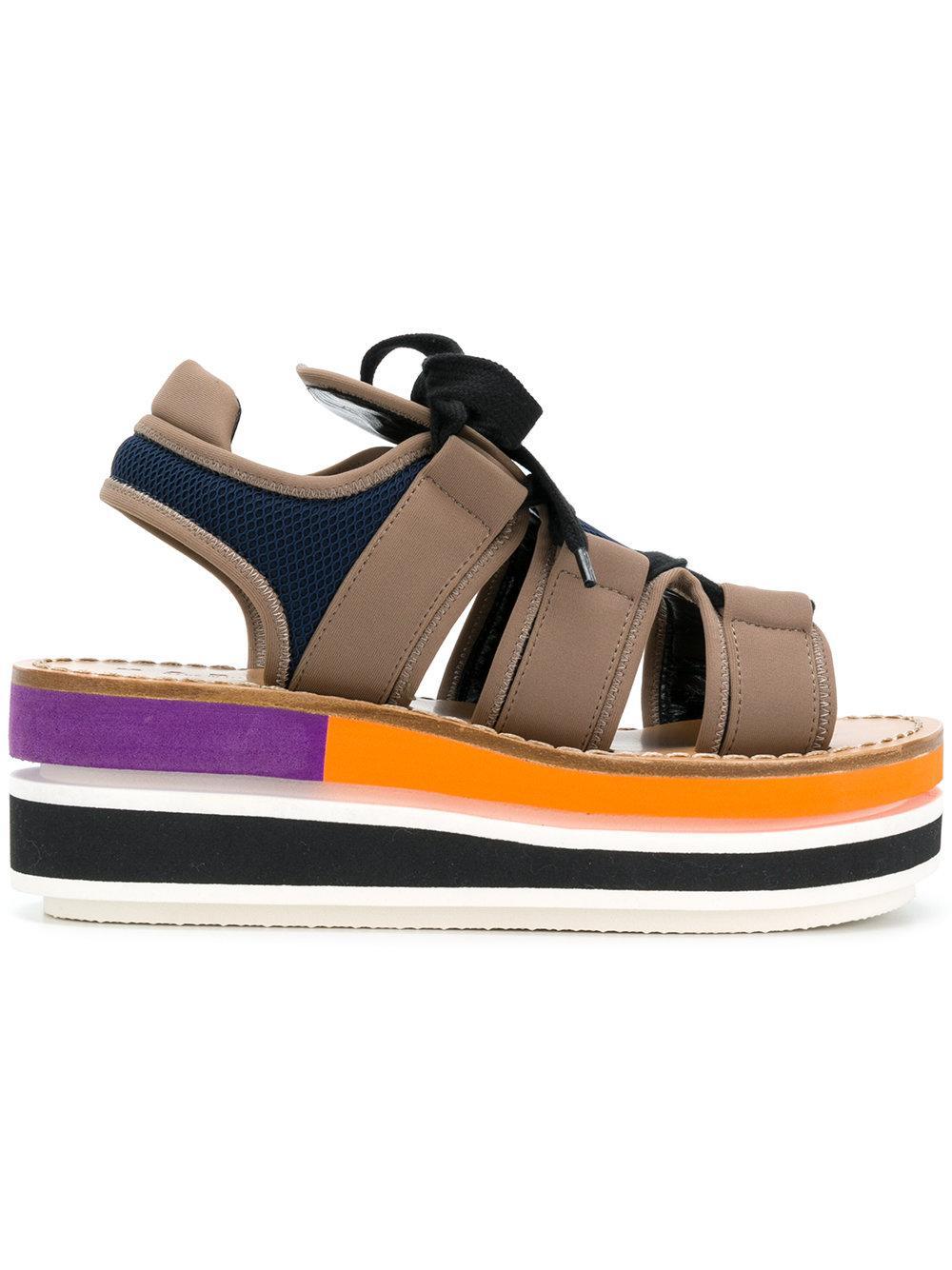 75f63d3f87a Marni Color-Block Platform Wedge Sandals In Black