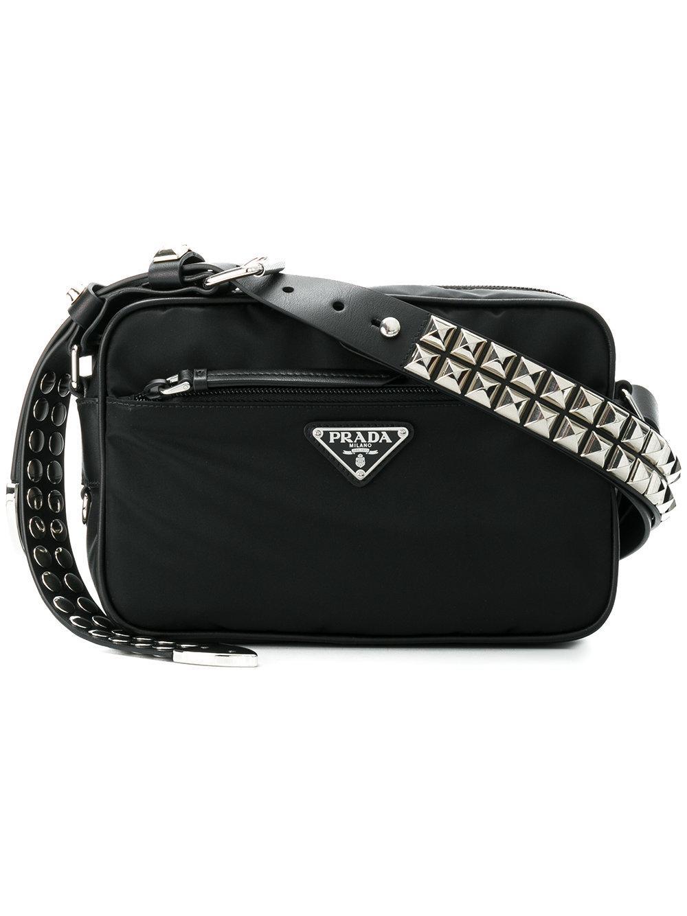 fd9a0abd8c7f Prada Black Studded Strap Textile Shoulder Bag - Farfetch