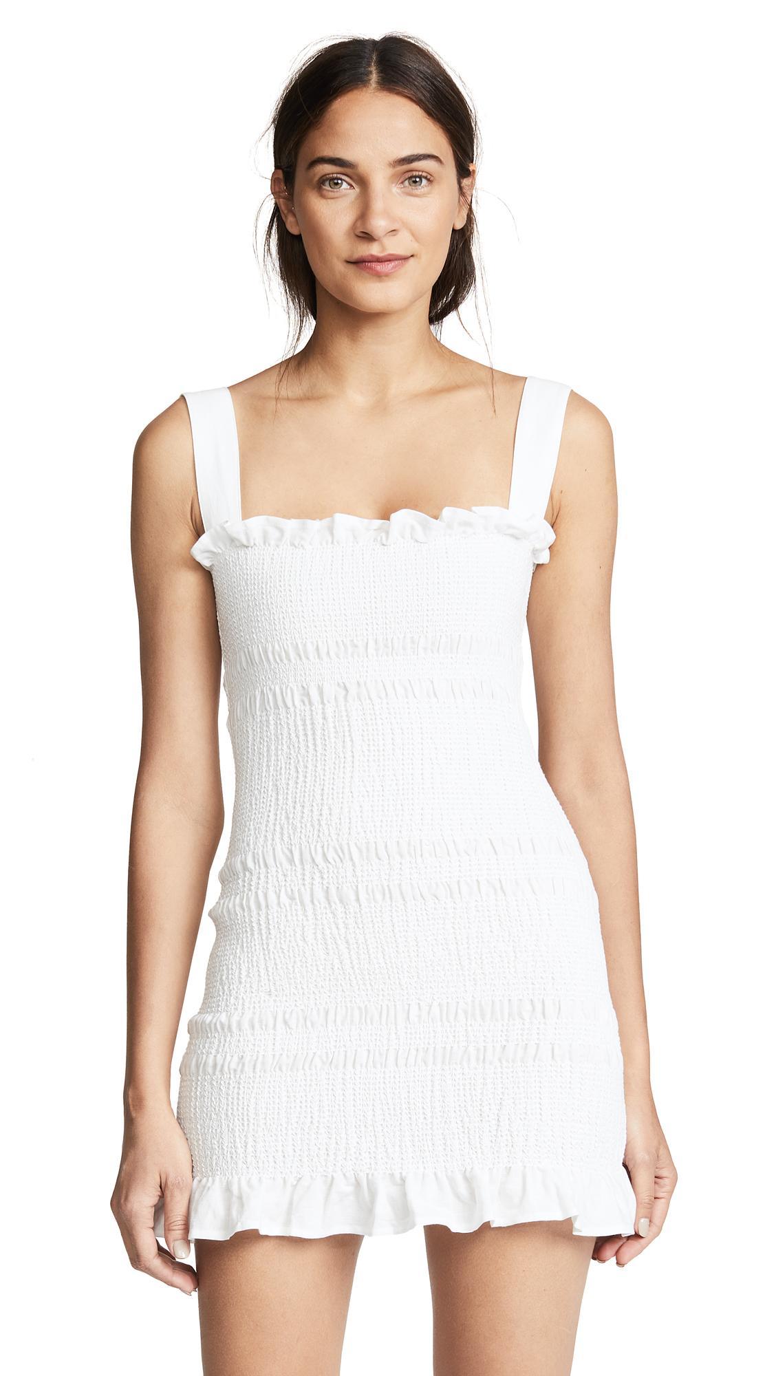 6530e5d4dd36 Capulet Viviane Smocked Mini Dress In White | ModeSens