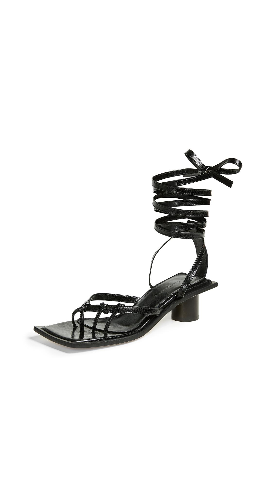 fa59f1b7e451 Helmut Lang Knotted Mid Heel Sandals In Black