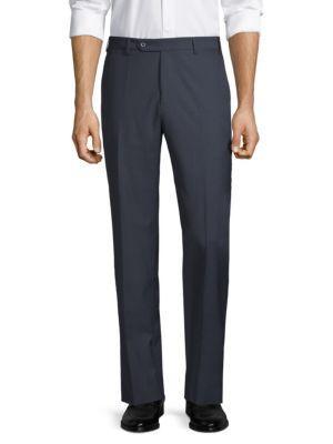 Zanella Devon Straight-Fit Wool Trousers In Blue