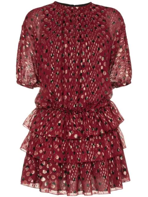 Saint Laurent Dress In Burgundy Silk Georgette With Gold LamÉ Polka Dots In Red