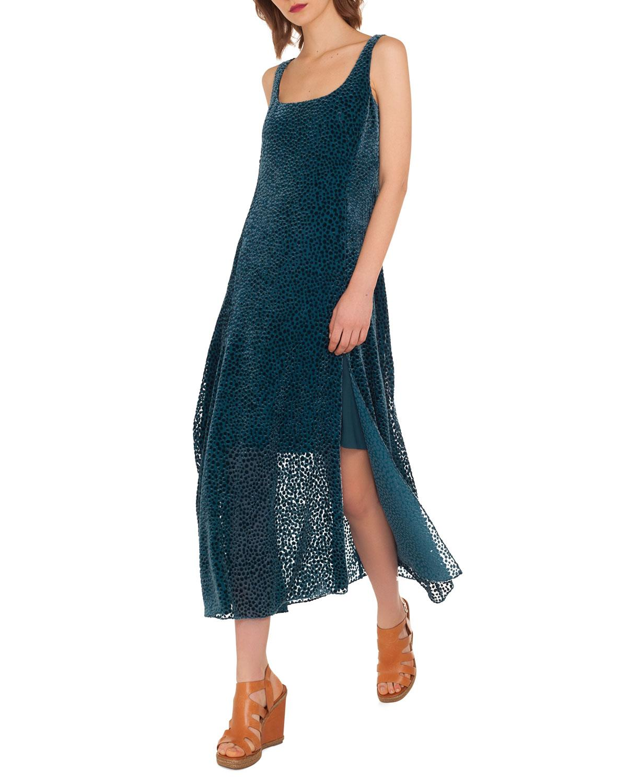 Akris Silk Chiffon Devore Sleeveless A-Line Dress, Indigo