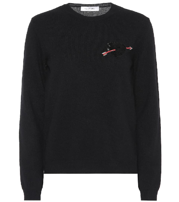 41805081e Valentino Crewneck Long-Sleeve Wool Sweater W  Heart Patch In Black ...