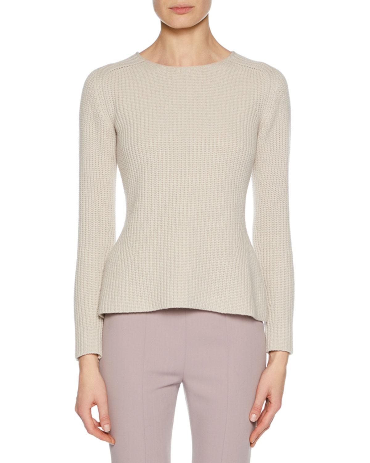 Crewneck Long Sleeve Cashmere Wool Blend Pullover Sweater W Slight Peplum in Light Pink