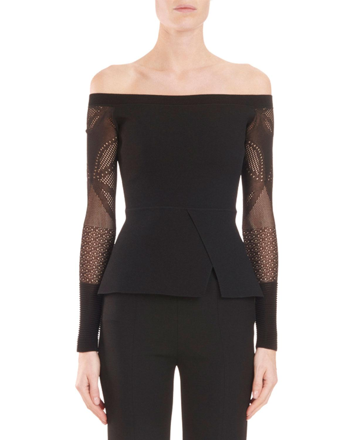 Roland Mouret Off-The-Shoulder Peplum Knit Top With Lace Sleeves In Black
