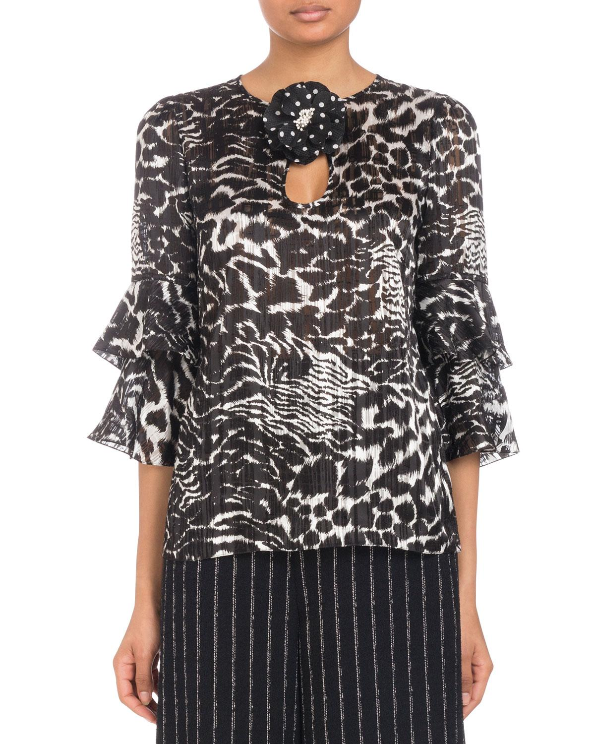 fe419e667b28c Andrew Gn 3/4 Flutter-Sleeve Animal-Print Silk Blouse With Flower ...