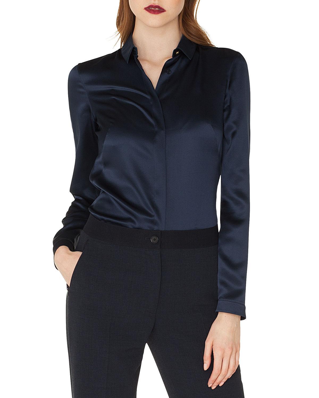 Akris Long-Sleeve Silk Satin Blouse In Dark Blue