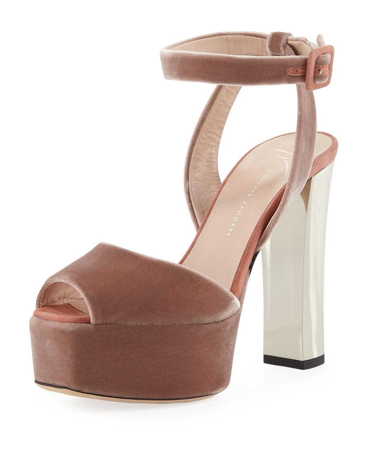 d720288a74b Giuseppe Zanotti Denim Platform Ankle-Strap Sandals In Blush
