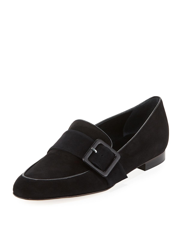 Manolo Blahnik Teno Flat Suede Buckle Loafer In Black