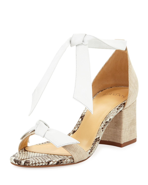 518cdeec3c Alexandre Birman Clarita Mixed Block-Heel Sandal, White | ModeSens