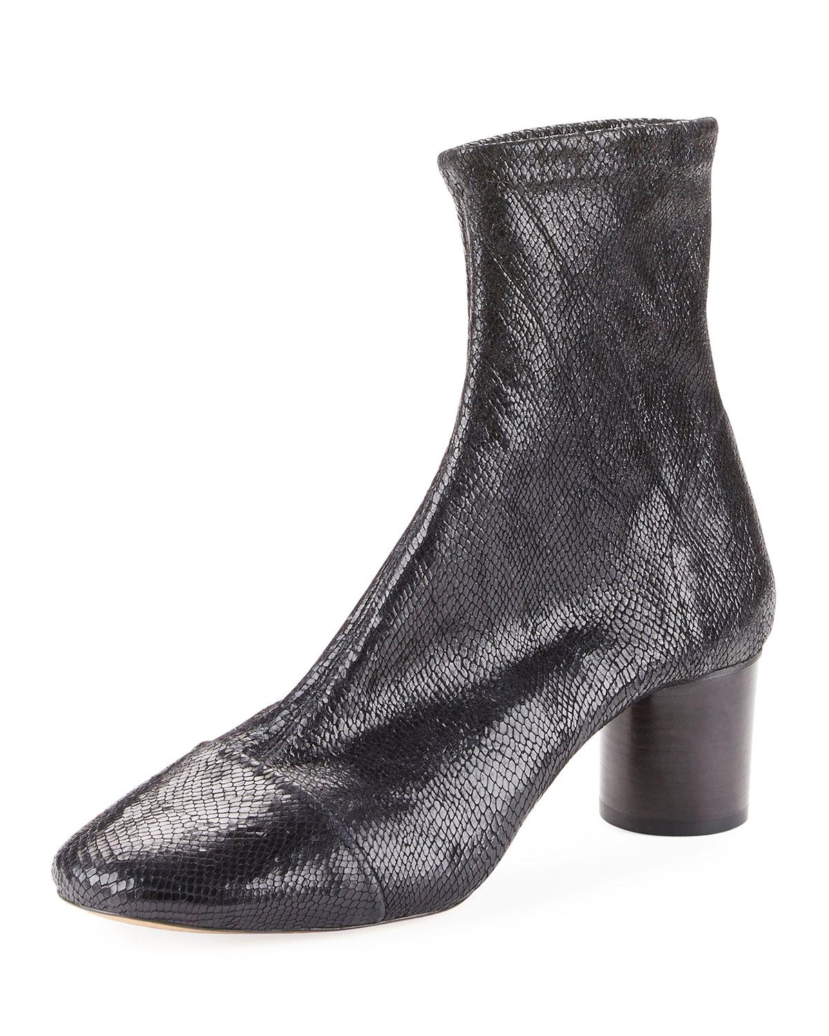 61a416a92d7 Isabel Marant Datsy Snake-Embossed Booties In Black | ModeSens