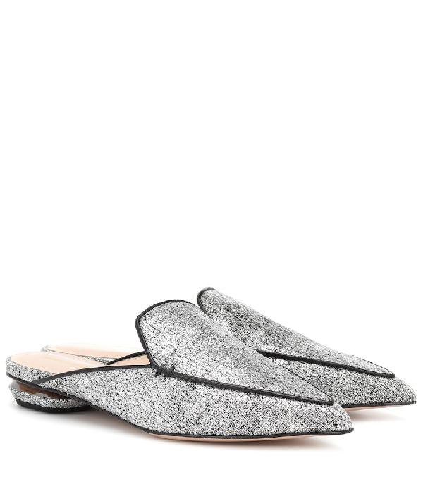 Nicholas Kirkwood Beya Woven Flat Loafer Mule In Silver