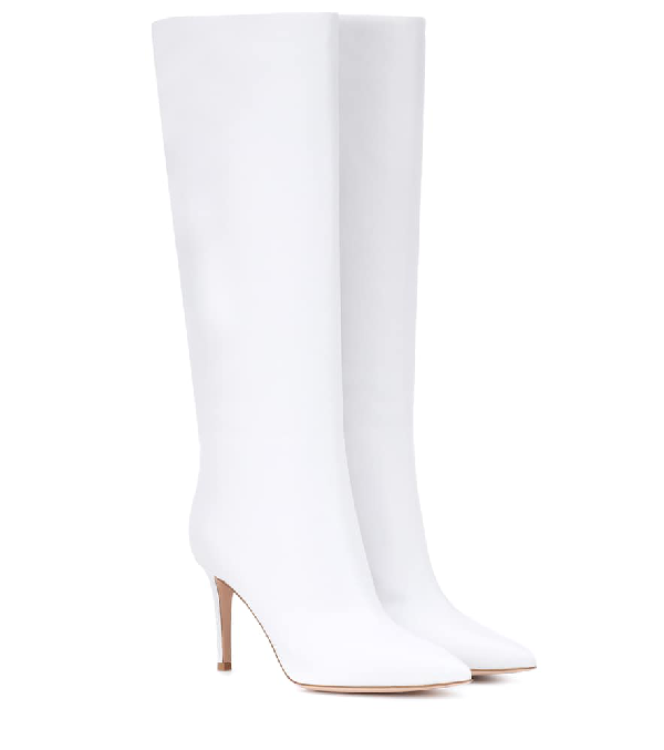 Gianvito Rossi Point-Toe Leather Mid-Calf Boot In White
