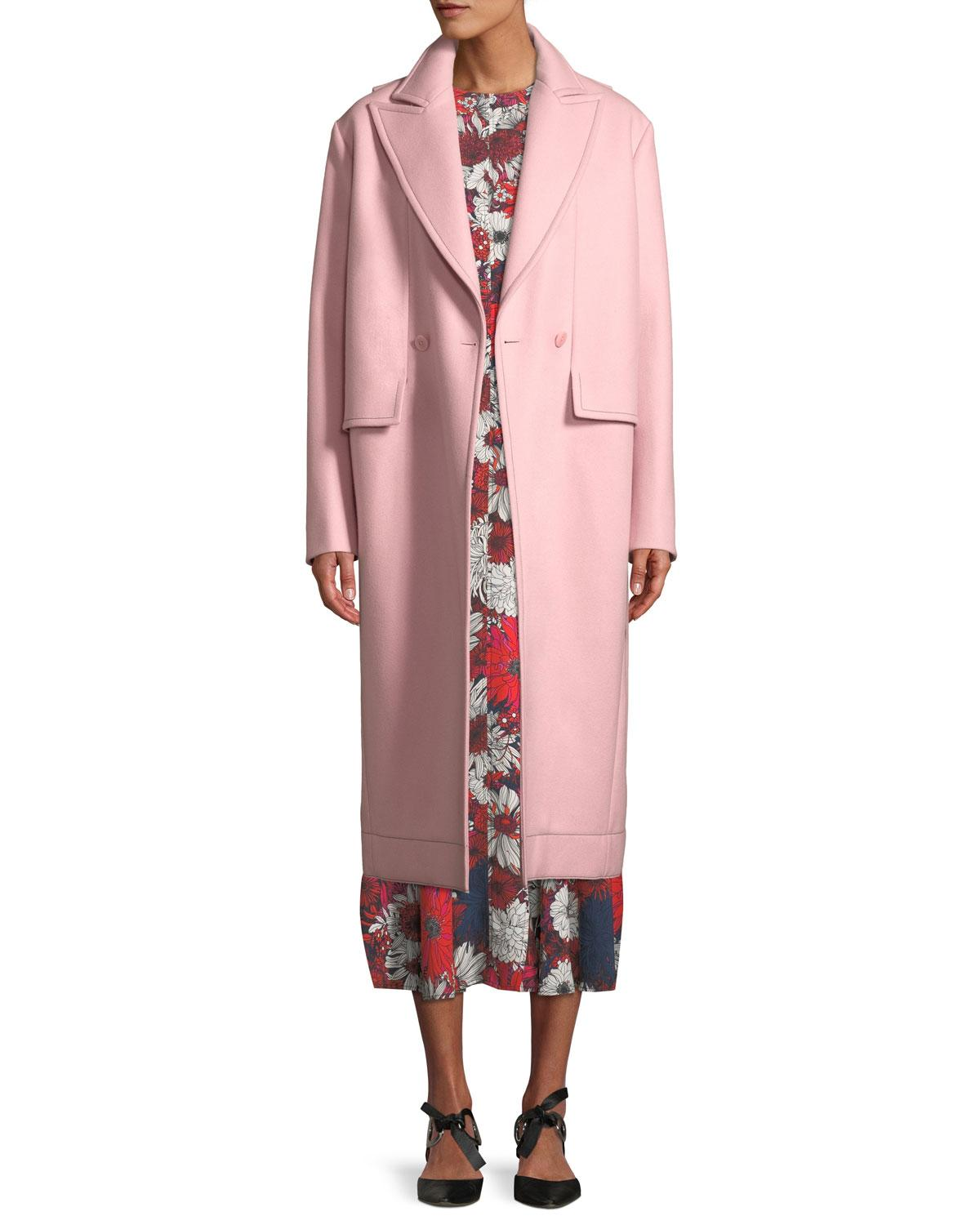 Cedric Charlier Peak-Lapels Double-Breasted Oversized Wool Coat In Pink