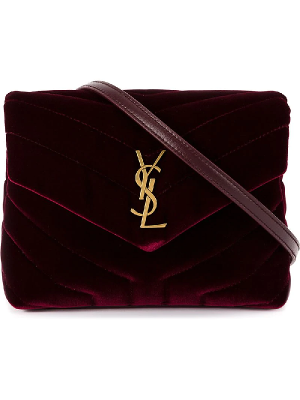 d28affb719 Saint Laurent Loulou Monogram Ysl Toy Quilted Velvet Shoulder Bag In ...