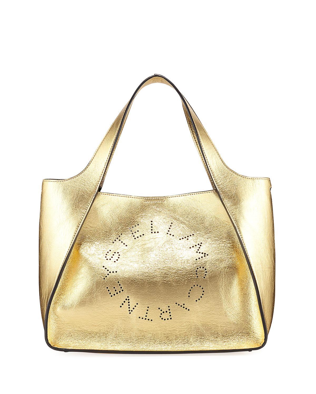 583c675192eb Stella Mccartney Metallic Logo Crossbody Bag In Gold