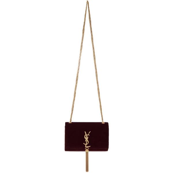 25eeaf1e178 Saint Laurent Sunset Monogram Ysl Small Velvet Chain Crossbody Bag In 6450  Dark Red