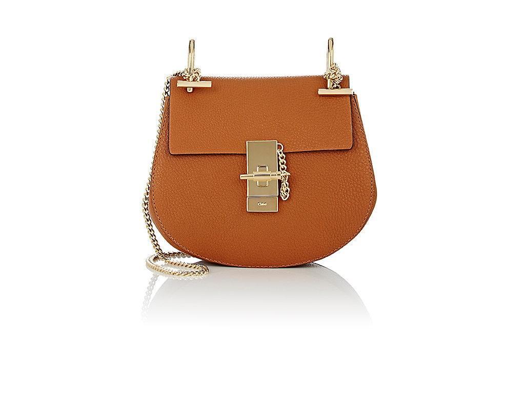 85ed576e795 ChloÉ Chloe Mini Grained Leather Drew Bag In Brown In Caramel