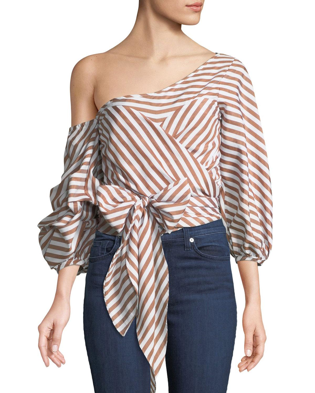 135e6fc758 Stylekeepers Wrap Me In Love Striped Blouse In Brown/White | ModeSens
