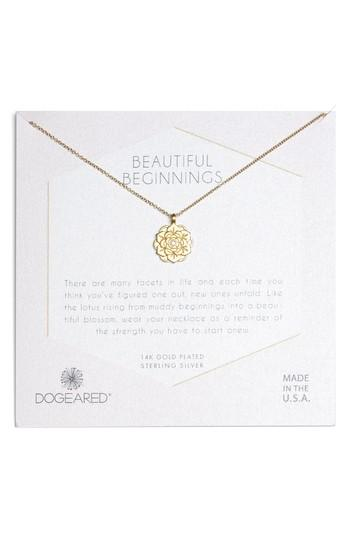Dogeared Beautiful Beginnings Lotus Pendant Necklace In Gold Modesens