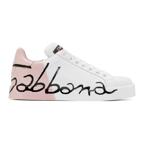 c5f0ef1da44 Dolce & Gabbana Dolce And Gabbana White And Pink Writing Sneakers In Hw821  Pink