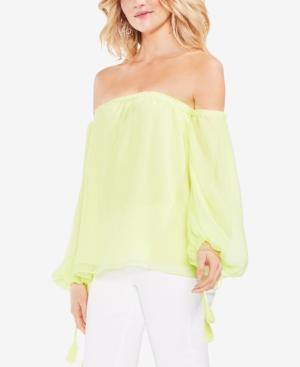 b049cfabaec481 Vince Camuto Off The Shoulder Bubble Sleeve Blouse In Soft Kiwi ...
