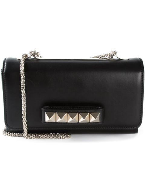 Valentino Black Patent Leather & Pyramid Stud Va Va Voum Bag