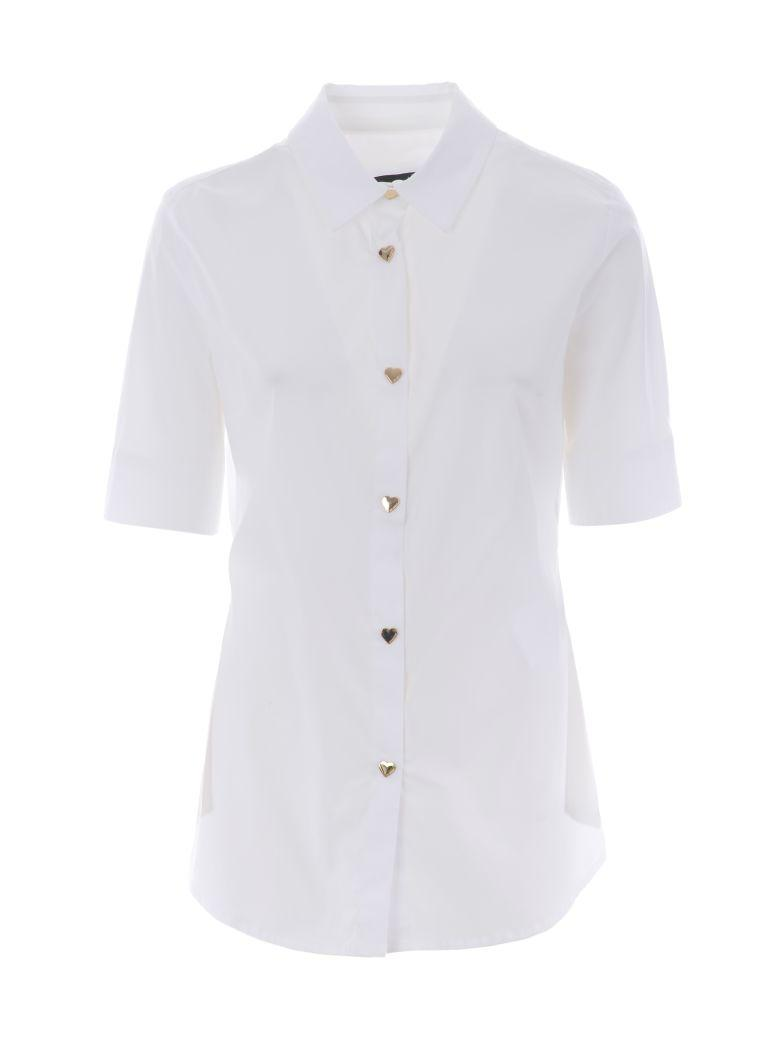 Heart Shaped Button Shirt in White