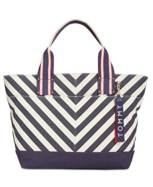 98c72f6349 Tommy Hilfiger Classic Tommy Chevron Canvas Tote In Navy/Natural ...