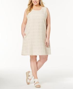 e9ae4234e8 Eileen Fisher Plus Size Organic Cotton-Linen Shift Dress In Natural ...