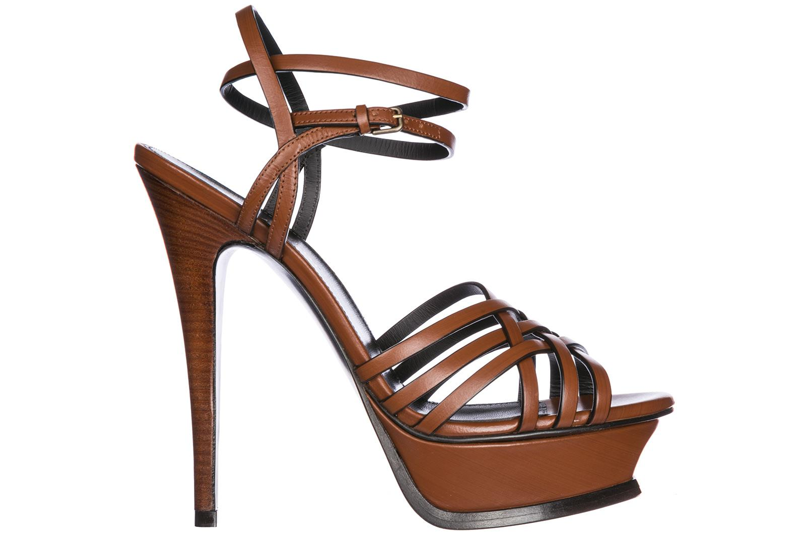 Saint Laurent Women's Leather Heel Sandals Tribute 105 In Brown