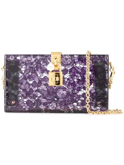 8ae30ea179 Dolce & Gabbana Dolce Box Clutch In Plexiglass And Lace In Purple ...