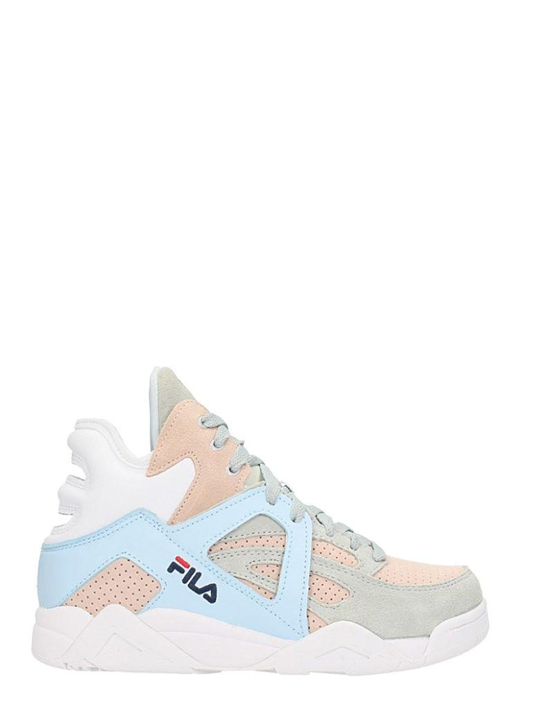 3f061e00a7e Fila Wmns Cage Mid Pink Babyblue Grey Suede Sneakers | ModeSens