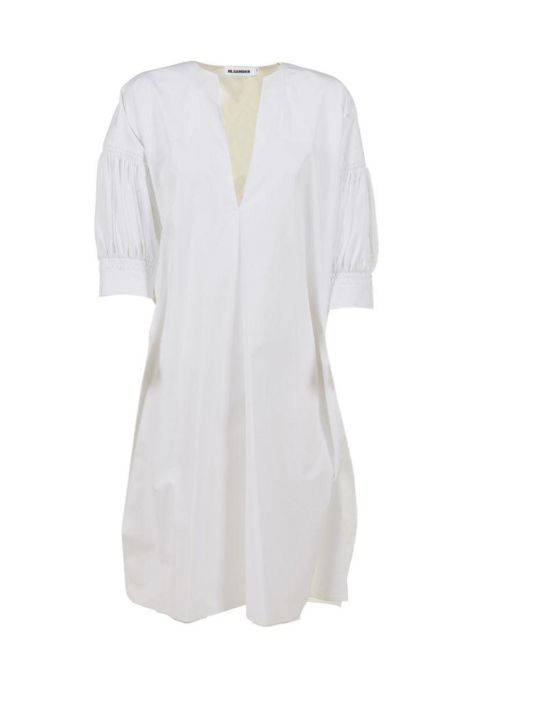 Jil Sander Gathered Sleeve Dress In Bianco