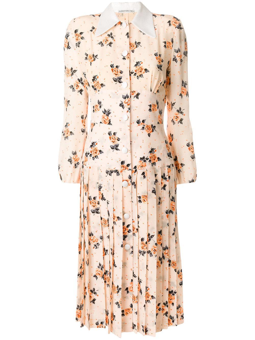Alessandra Rich Floral Print Shirt Dress In Neutrals